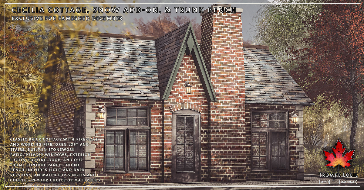 Cecilia Cottage, Snow Add-On and Trunk Benches for FaMESHed December