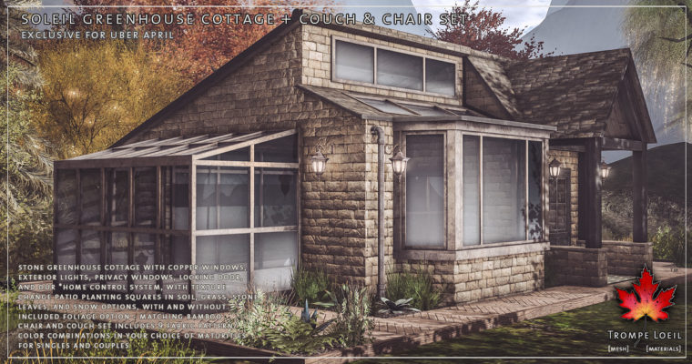 Soleil Greenhouse Cottage + Couch & Chair Set for Uber April