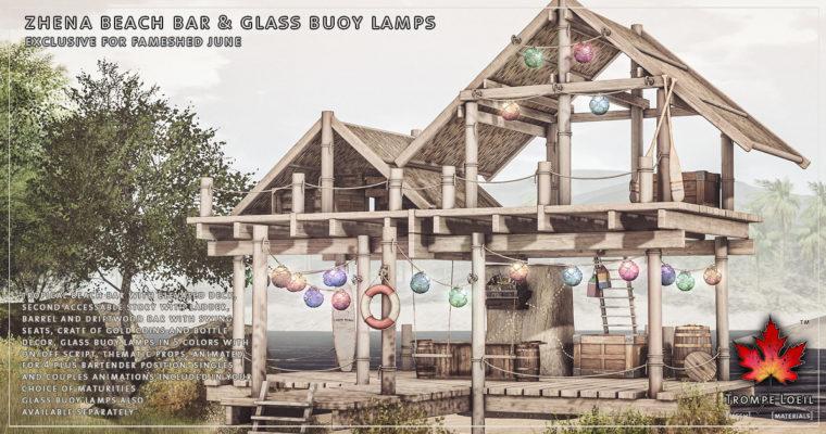 Zhena Beach Bar & Glass Buoy Lamps for FaMESHed June