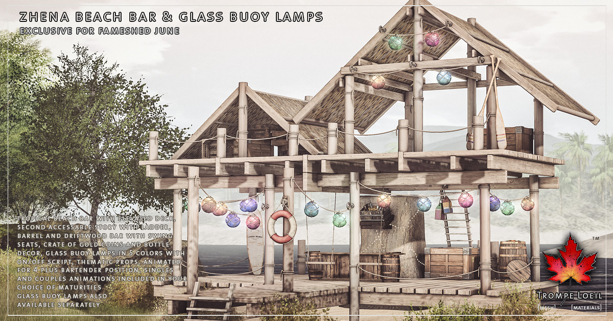 Zhena Beach Bar & Glass Buoy Lamps for FaMESHed June