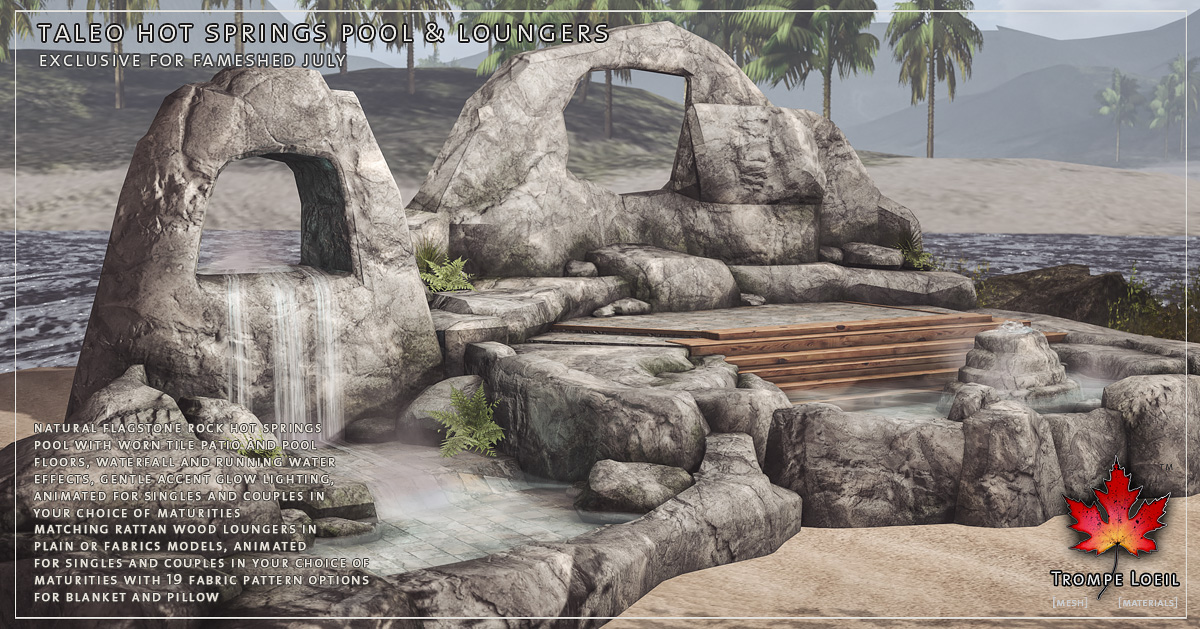 Taleo Hot Springs Pool & Loungers for FaMESHed July