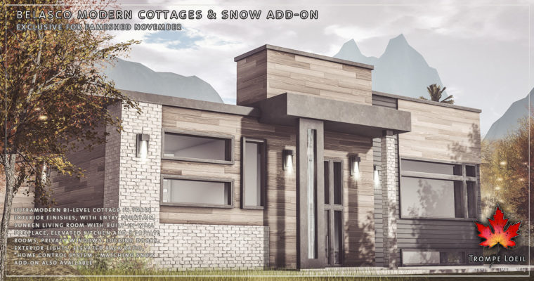Belasco Modern Cottages, Kitchen, & Snow Add-On for FaMESHed November