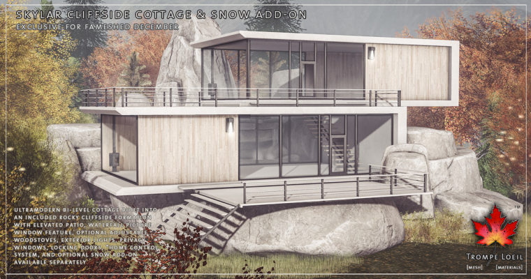 Skylar Cliffside Cottage and Snow Add-On for FaMESHed December