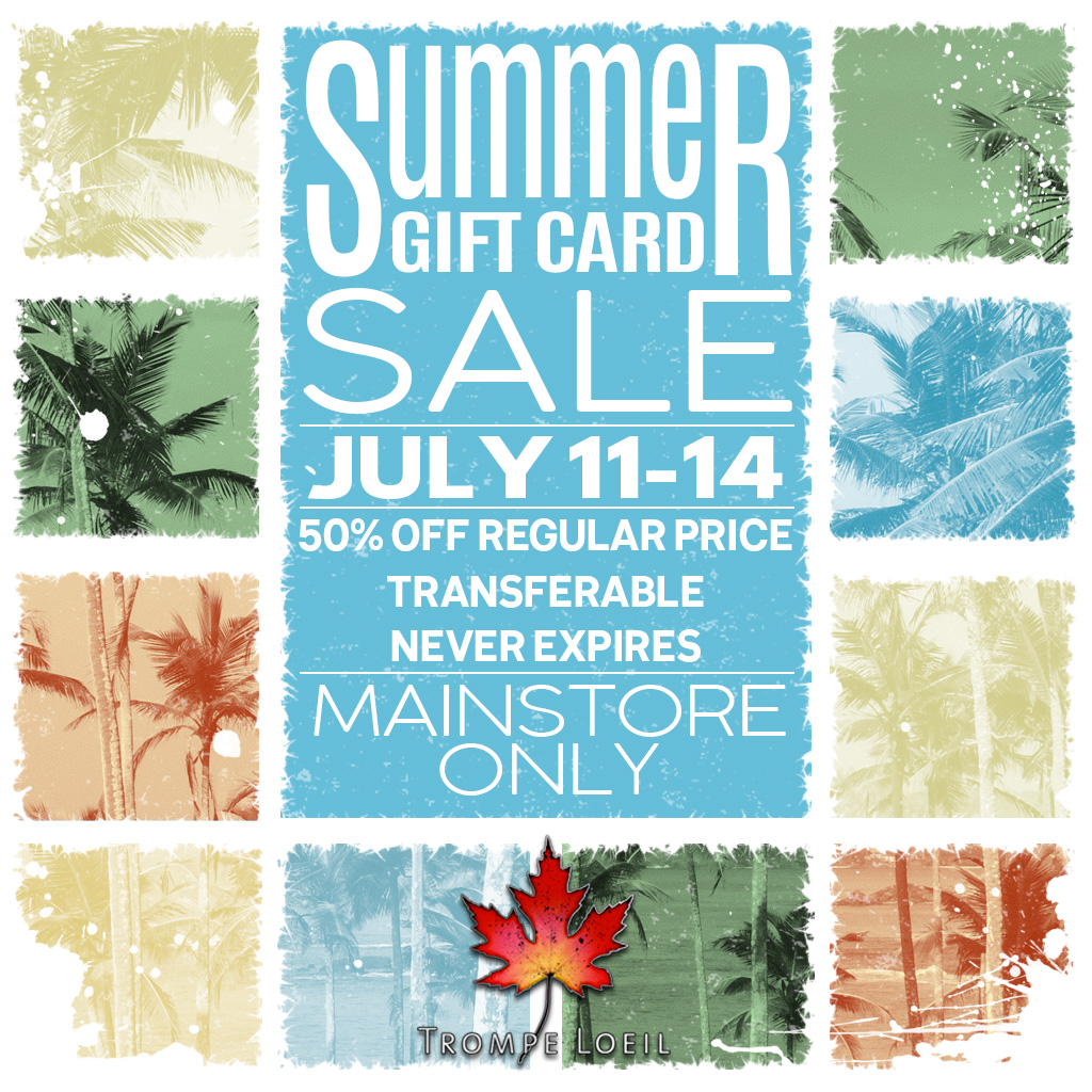 Summer Gift Card Sale July 11-14 – 50% Off Gift Cards