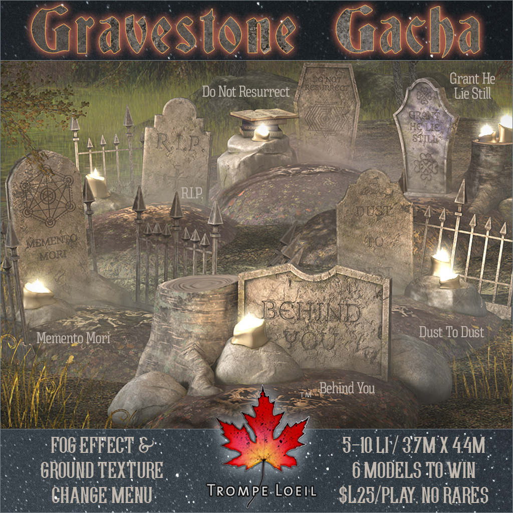 Gravestone Gacha for The Arcade Halloween Pop-Up