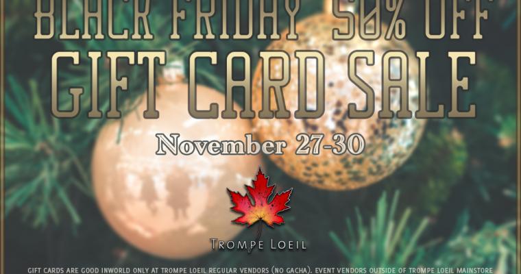 Black Friday 2020 Gift Card Sale – 50% Off Nov 27-30