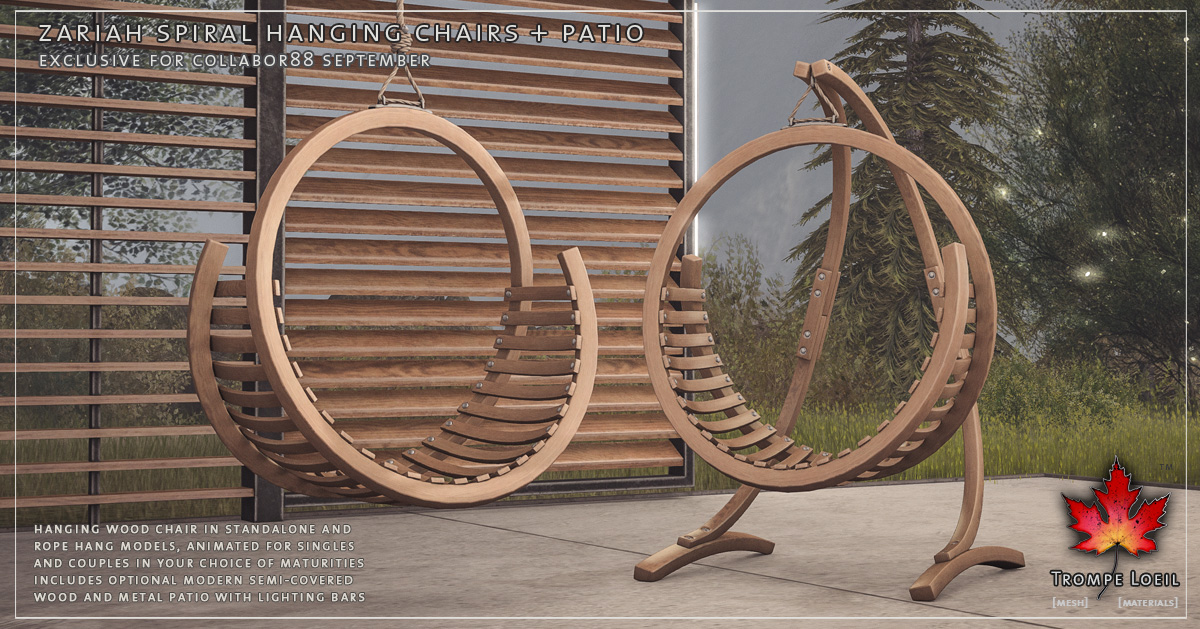 Zariah Hanging Spiral Chairs + Standalone Patio for Collabor88 September